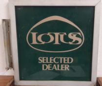 An alloy wall mounted Lotus Selected Dealer sign, 51 cm square.