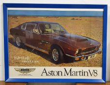 An Aston Martin V8 showroom poster, framed, 82 x 107 cm overall.