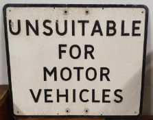 A pressed alloy rectangular sign, Unsuitable for Motor Vehicles, 51 x 61 cm.