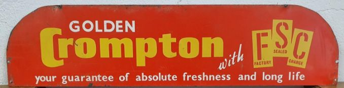 A single sided tin Golden Compton sign, 15 x 63 cm.
