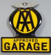 A reproduction cast metal and painted AA Garage sign, 25 cm.