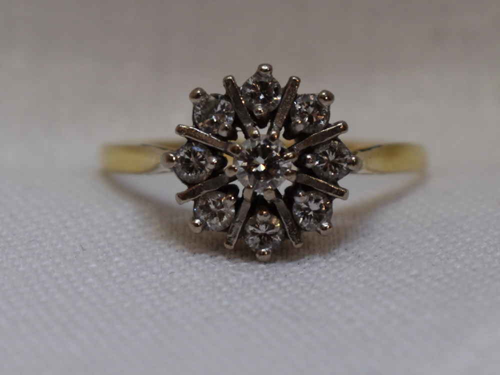 Lot 46 - A lady's dress ring having a diamond star burst cluster, approx 0.5ct on a yellow metal loop, no