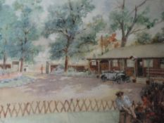 A watercolour, Gilbert Spencer, Osterley Barracks, attributed verso, 9inx12.5in