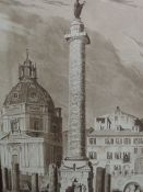Two sepia prints, attributed to Copley Fielding and D Havell, The Column of Trogen Rome and Column