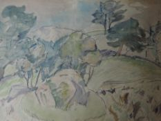 A watercolour, Robin Wallace, Langdale Boulder, Robin Ghyll, signed, 14inx18in and verso