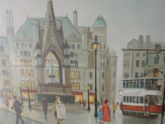 An oil painting, Steven Scholes, Albert Square, Manchester street scene, signed, 16inx19.5in
