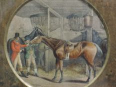 Five 19th century engravings, coloured, three circular and two rectangular, horses, carriages and