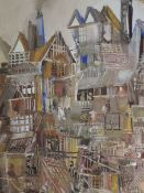 An oil painting, Trevor Lawrence, stylised shanty town, signed and dated (19)73, 21.5inx13.5in