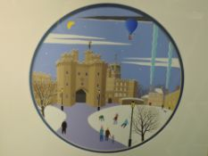 A gouche painting, Chas Jacobs, Lancaster Castle, signed, 10in diameter