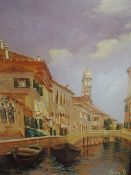 An oil painting on board Pal Li Sa D. Venice, indistinctly signed 9in X 6.5in
