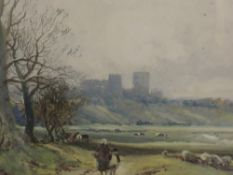 A watercolour, attributed to William Manners, View of Lancaster, 19inx29in, attributed verso