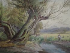 A watercolour, William Wilde, An afternoon by the river, signed and dated (18)85, 13.5in x 19in