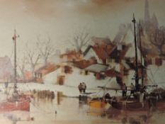 An oil painting Jorge Aguillar-Argon, Boats in Harbour, signed and attributed verso 15in X 31in