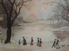 A print after Helen Layfield Bradley, A Beautiful Winter's Day, signed and attributed verso