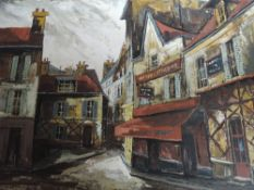 An oil painting, J Daford, Paris Street scene, indistinctly signed and dated (19)64, 23inx36in