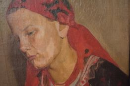 An oil painting, Kaisanienia Kirv, portrait study, Eastern European lady, indistinctly signed,