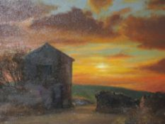 An oil painting on board, Geoffrey H pooley, Lakeland barn sunset, signed, 15inx19in
