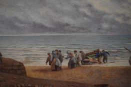 A watercolour, K E Booth, Hauling the Boat, signed, 12in x 20in