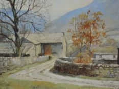 An oil painting on board, Marion Bradley, A Lakeland Farmstead, signed, 9.5inx14in and a print after
