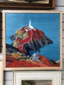 An acrylic painting on canvas, Libby Edmondson, South Stack Lighthouse, Anglesey, signed, 24inx24in