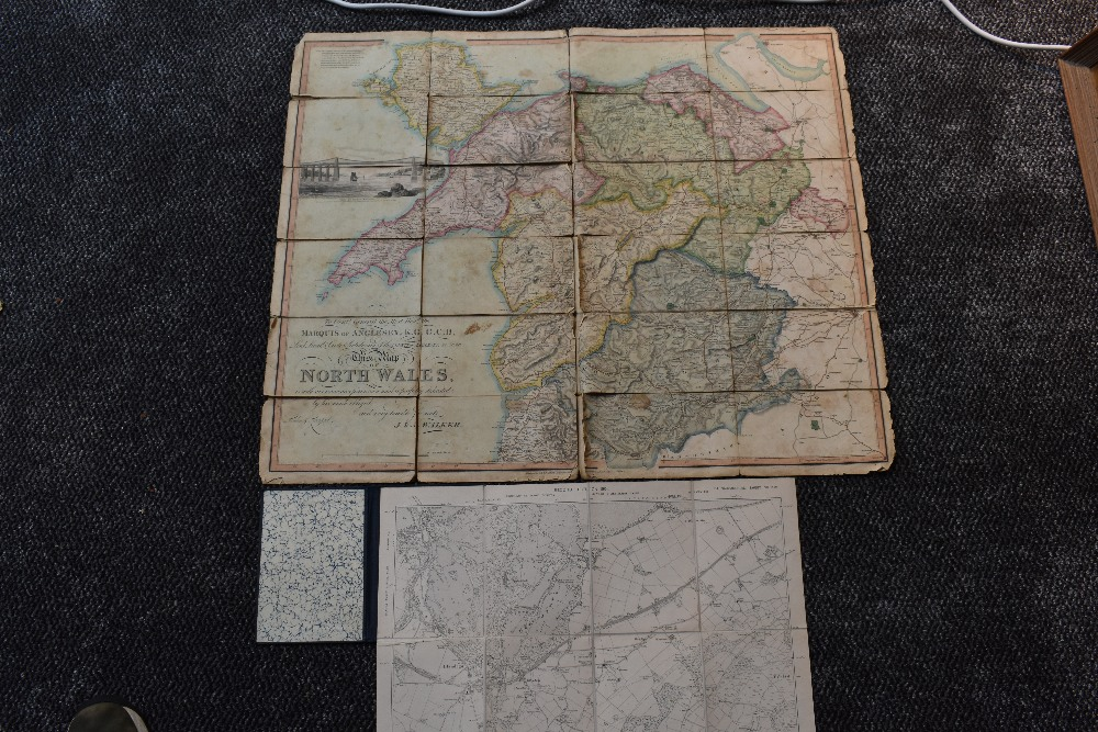 Lot 418 - Folding Maps. North Wales interest. J. & A. Walker - To Lieut. General the Most Honorable the