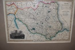 A late 19th Century Map of County Durham. Outline colour, with inset engraved view of Durham
