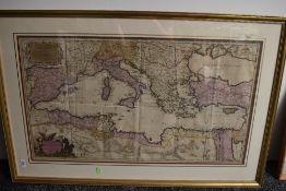 Antiquarian Map. Valck, G. [Gerald Valck] - La Mer Mediterranee divisee en ses Principales Parties