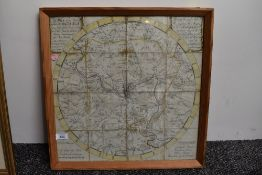A late 18th Century Map of the City of Bath and Environs. Dated 1787. In 16 folding sections,