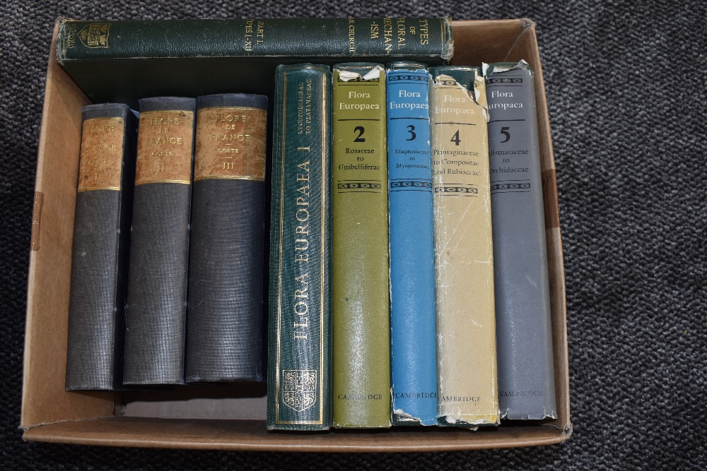 Lot 442 - Botany. A carton. Includes; Flora Europaea, volumes 1-5, 1964-1980, etc. (9) Provenance: from the