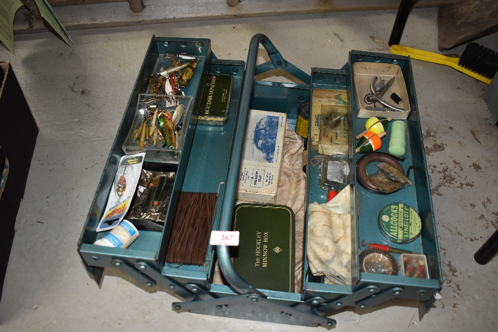 Lot 367 - A metal tool box containing vintage fishing tackle, with some interesting pieces worth a look