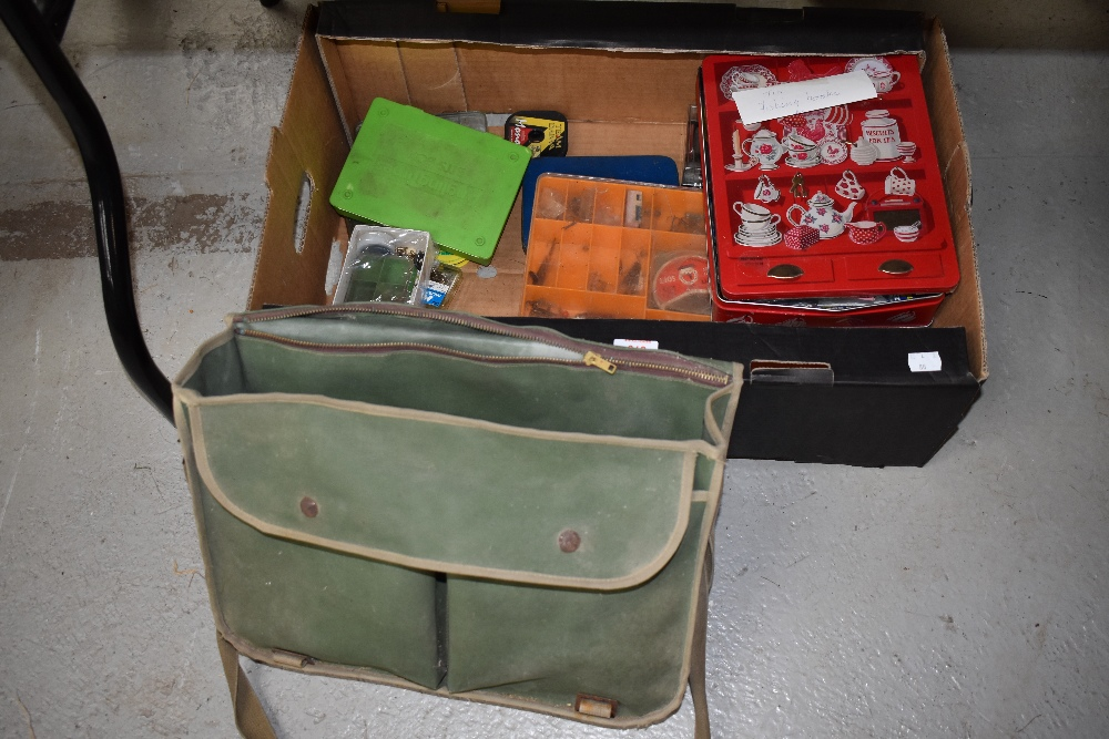 Lot 368 - A large selection of tackle in many tins and boxes, including lures, spinners and a Canvas bag