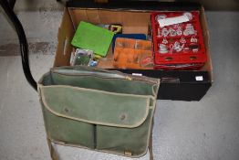 A large selection of tackle in many tins and boxes, including lures, spinners and a Canvas bag