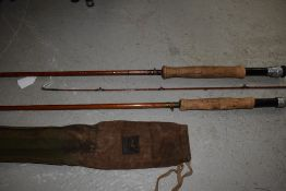 Two Split Cane Hardy Fly Rods, The Perfection and another Dry-Wet tips, name obscured by re-