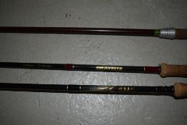 Three fly fishing rods including Berkley Greyfite and 10ft Milbro