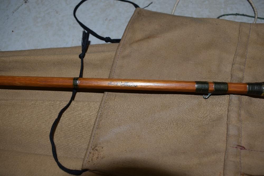 Lot 344 - A split cane fly rod marked D. Pollard with sleeve