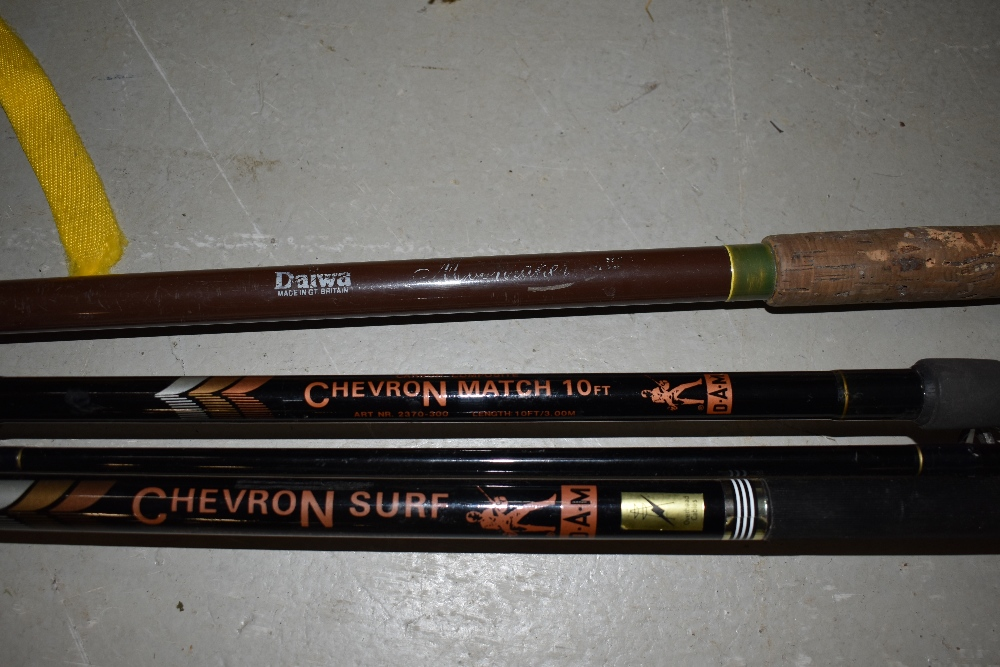 Lot 359 - Three large fishing rods including two Chevron