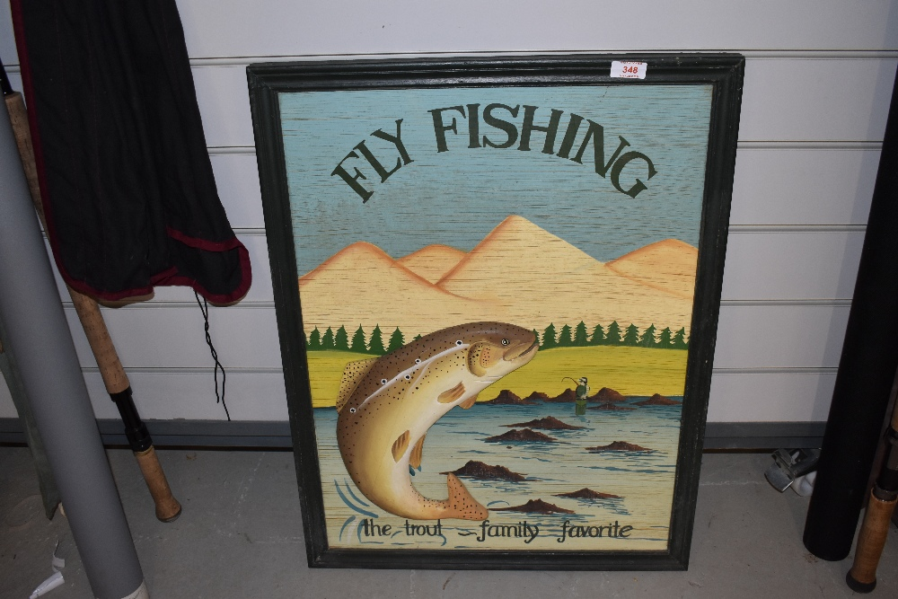 Lot 348 - A modern wooden Fly Fishing sign