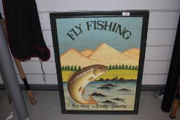 A modern wooden Fly Fishing sign