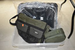 A large keep net, fishing bag and four new reel bags