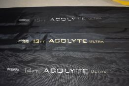 Three Acolyte Ultra float rods, 13ft, 14ft and 15ft with sleeves