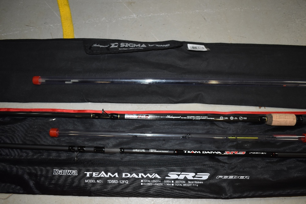 Lot 358 - A Daiwa SR3 rod with quiver of three tips and Sigma 10ft wand with with three tips
