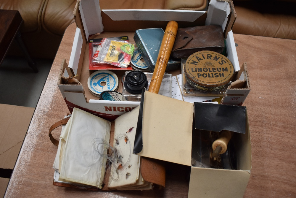 Lot 377 - A box of assorted tackle including leather wallets containing flies and preist etc
