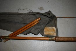 A vintage Millwards fly Versa 12ft 10in split cane fly rod with spare tip in canvas sleeve