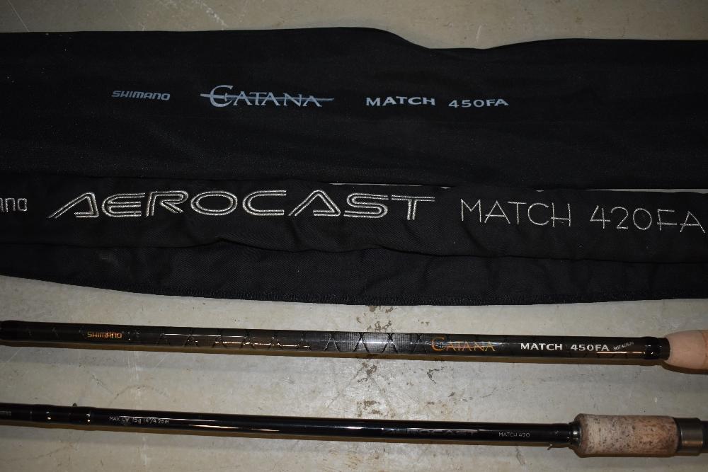 Lot 352 - Two Shimano fishing rods Catana Match 450 FA 15ft and Aerocast 14ft Match 420
