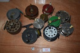 A selection of fly fishing reels including Allcocks and Stanley reels