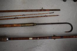 A split cane salmon rod wooden handled gaff and other rod parts