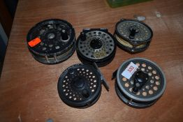 Five fly fishing reels with line, includes Intrepid, Shakespeare and Diawa