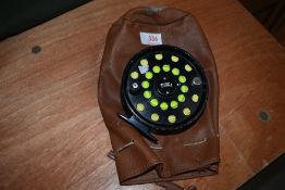 A Tioga Fly Reel with wind cutter line