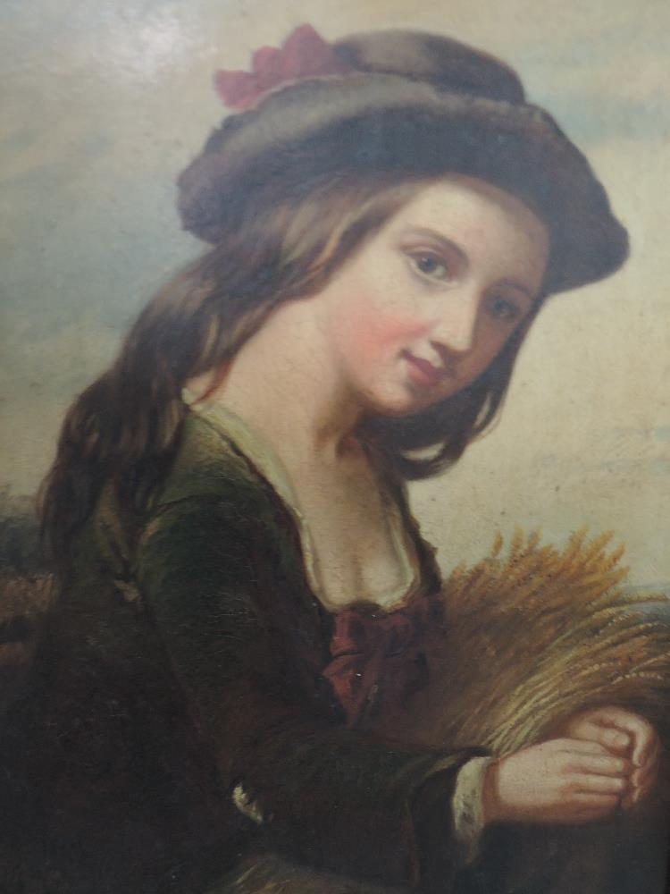 Lot 330 - An oil painting on tin, Peasant girl, 19th century, framed, 30 x 22cm
