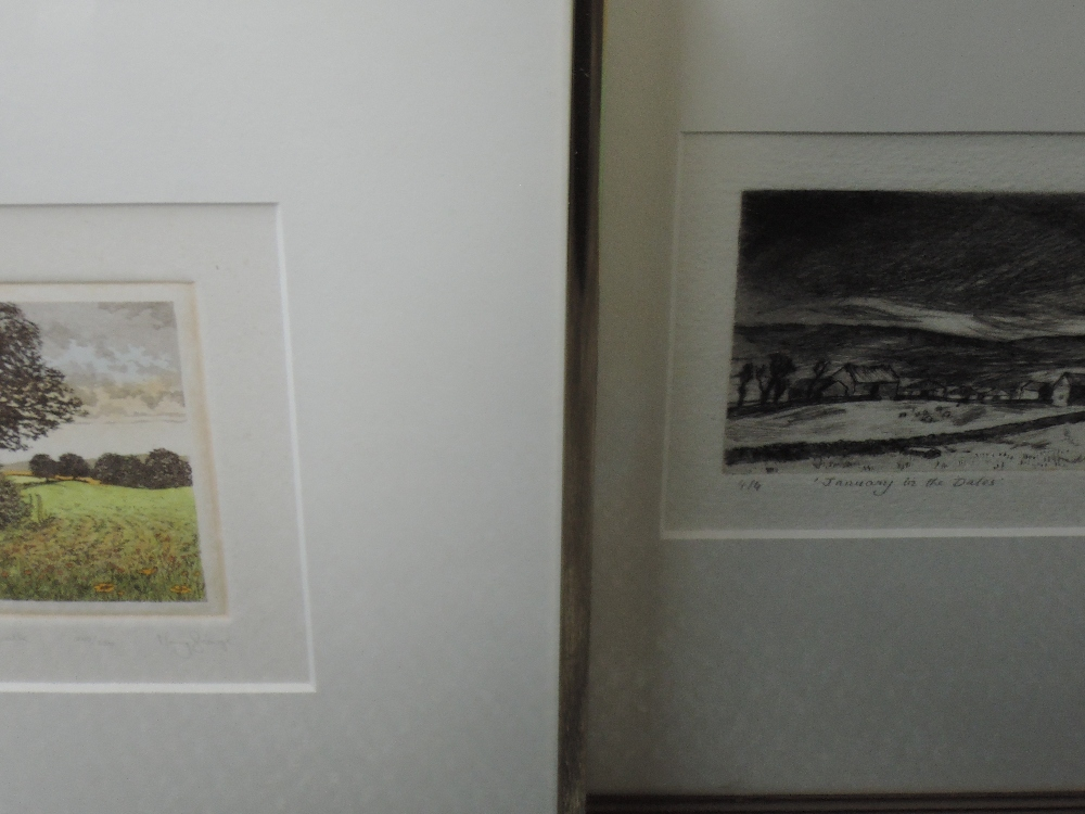 Lot 360 - A Ltd Ed print, after M Farnell, January in the Dales, numbered 4/4, signed, framed and glazed, 10 x